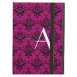 Monogram Magenta pink damask iPad Folio Case