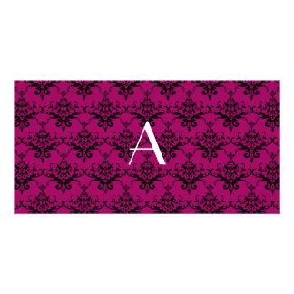 Monogram Magenta pink damask Photo Card