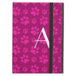 Monogram magenta pink dog paw prints iPad folio case