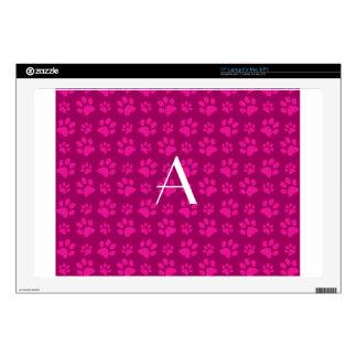 Monogram magenta pink dog paw prints laptop skins
