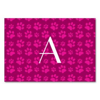 Monogram magenta pink dog paw prints table cards