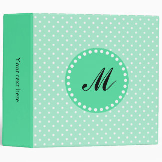 Monogram Magic Mint and White Polka Dot 3 Ring Binder