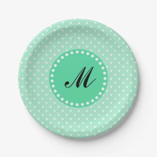 Monogram Magic Mint and White Polka Dot 7 Inch Paper Plate