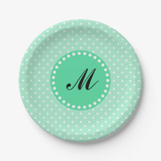 Monogram Magic Mint and White Polka Dot Paper Plate