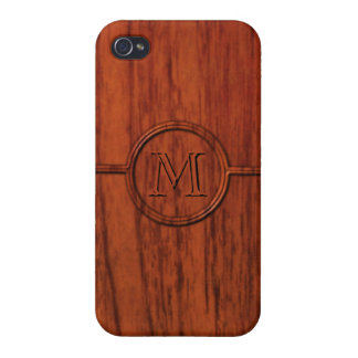 Monogram Mahogany Wood Print Cases For iPhone 4