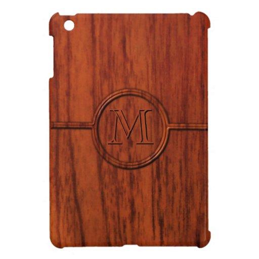 Monogram Mahogany Wood Print iPad Mini Case