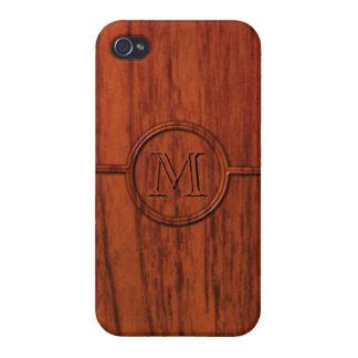 Monogram Mahogany Wood Print Cases For iPhone 4