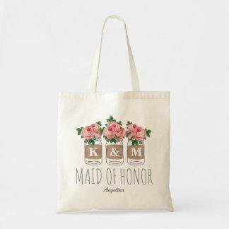 MONOGRAM MAID OF HONOR | MASON JAR WEDDING TOTE BAG