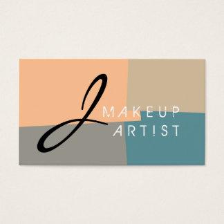 Monogram Makeup Artist Modern Retro Colors #11 Business Card