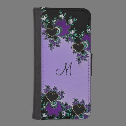 Monogram Mandelbrot Hearts Wallet Phone Case Phone Wallets