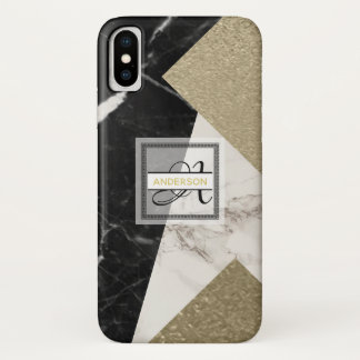 Monogram Marble Black Grey Gold Glitter Geometric iPhone X Case