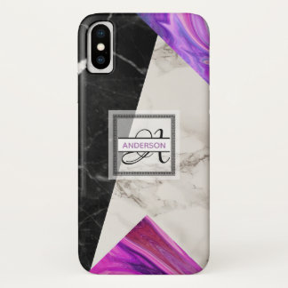 Monogram Marble Black Pink Purple Geometric iPhone X Case