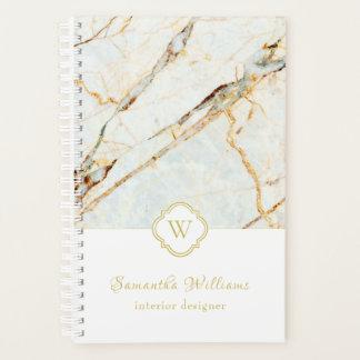 Monogram Marble Elegant White Gold 5.5x8.5 Planner