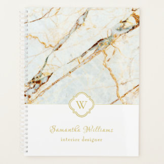 Monogram Marble Elegant White Gold 8.5x11 Planner