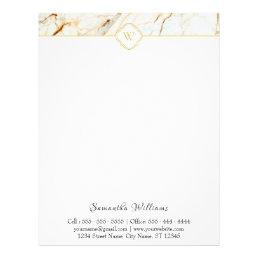 Monogram Marble Elegant White Gold Letterhead