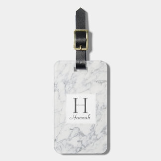 Monogram Marble Pattern Personalized Luggage Tag
