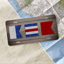 Monogram Maritime Signal Flag | Wood Background License Plate