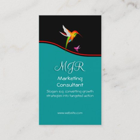 Monogram, Marketing Consultant, red swoosh Business Card