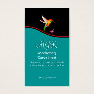 Monogram, Marketing Consultant, red swoosh Business Card