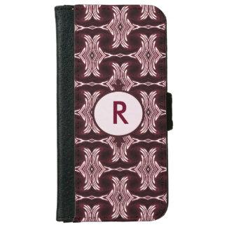 Monogram Maroon Art Deco iPhone 6 Wallet Case