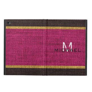 Monogram Maroon Burlap Linen Rustic Jute Powis iPad Air 2 Case