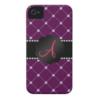 Monogram Maroon diamonds Case-Mate iPhone 4 Case