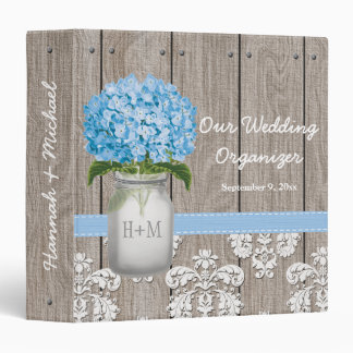 Monogram Mason Jar Blue Hydrangea Wedding Planner Binder