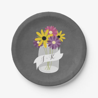 Monogram Mason Jar Flowers Chalkboard Wedding 7 Inch Paper Plate