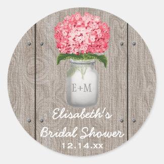 Monogram Mason Jar Fuchsia Hydrangea Bridal Shower Classic Round Sticker