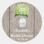 Monogram Mason Jar Green Hydrangea Bridal Shower Classic Round Sticker