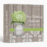 Monogram Mason Jar Green Hydrangea Wedding Planner Vinyl Binder