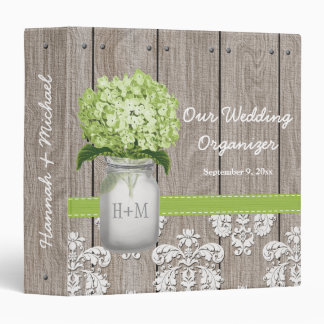 Monogram Mason Jar Green Hydrangea Wedding Planner Binder