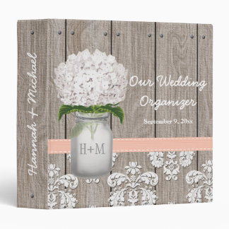 Monogram Mason Jar Peach Hydrangea Wedding Planner 3 Ring Binder