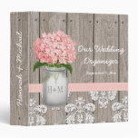 Monogram Mason Jar Pink Hydrangea Wedding Planner 3 Ring Binder