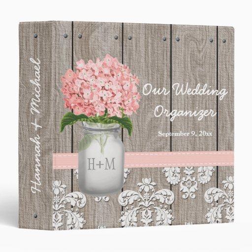 Monogram Mason Jar Pink Hydrangea Wedding Planner 3 Ring Binders