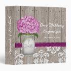 Monogram Mason Jar Plum Hydrangea Wedding Planner Binder
