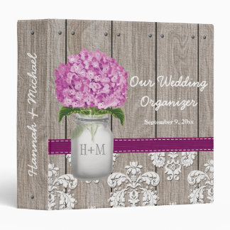 Monogram Mason Jar Plum Hydrangea Wedding Planner Binder