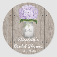 Monogram Mason Jar Purple Hydrangea Bridal Shower Classic Round Sticker