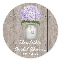 Monogram Mason Jar Purple Hydrangea Bridal Shower Classic Round Sticker