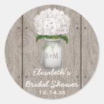 Monogram Mason Jar White Hydrangea Bridal Shower Classic Round Sticker