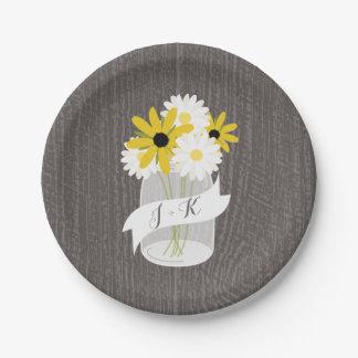 Monogram Mason Jar Wildflowers + Barnwood Wedding 7 Inch Paper Plate