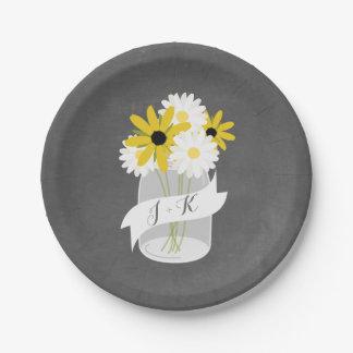 Monogram Mason Jar Wildflowers Chalkboard Wedding 7 Inch Paper Plate