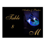 Monogram Masquerade Mask Blue Table Placecard Postcards