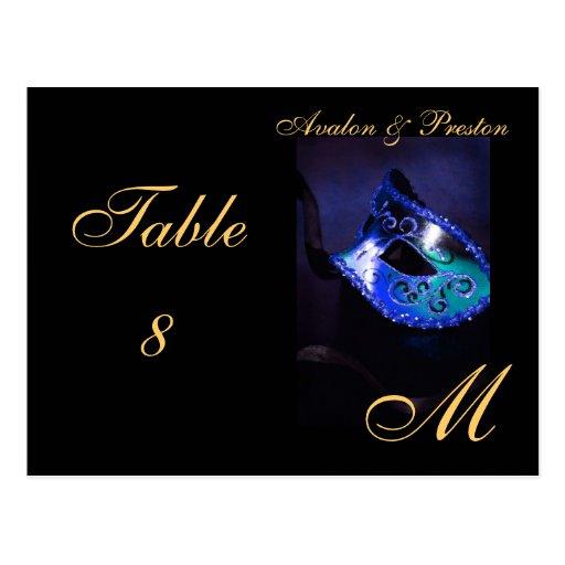 Monogram Masquerade Mask Blue Table Placecard Postcards