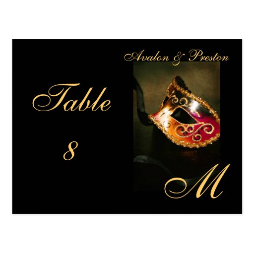 Monogram Masquerade Mask Gold Table Placecard Post Card