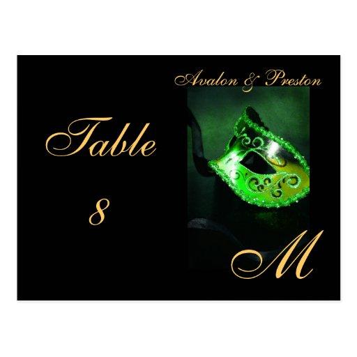 Monogram Masquerade Mask Green Table Placecard Postcards