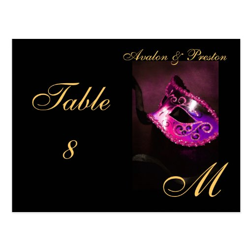 Monogram Masquerade Mask Pink Table Placecard Post Cards