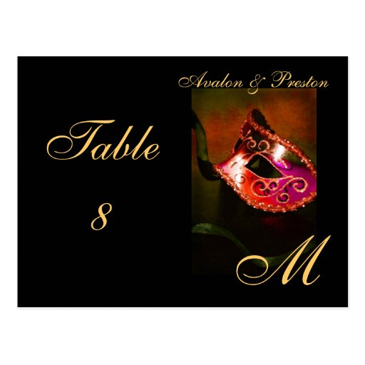 Monogram Masquerade Mask Red Table Placecard Postcards