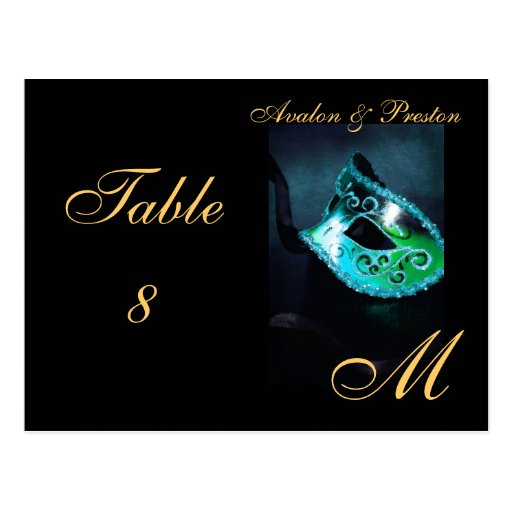 Monogram Masquerade Mask Teal Table Placecard Post Card