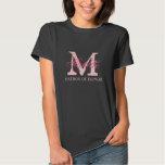 Monogram matron of honor t shirts | pink and black
